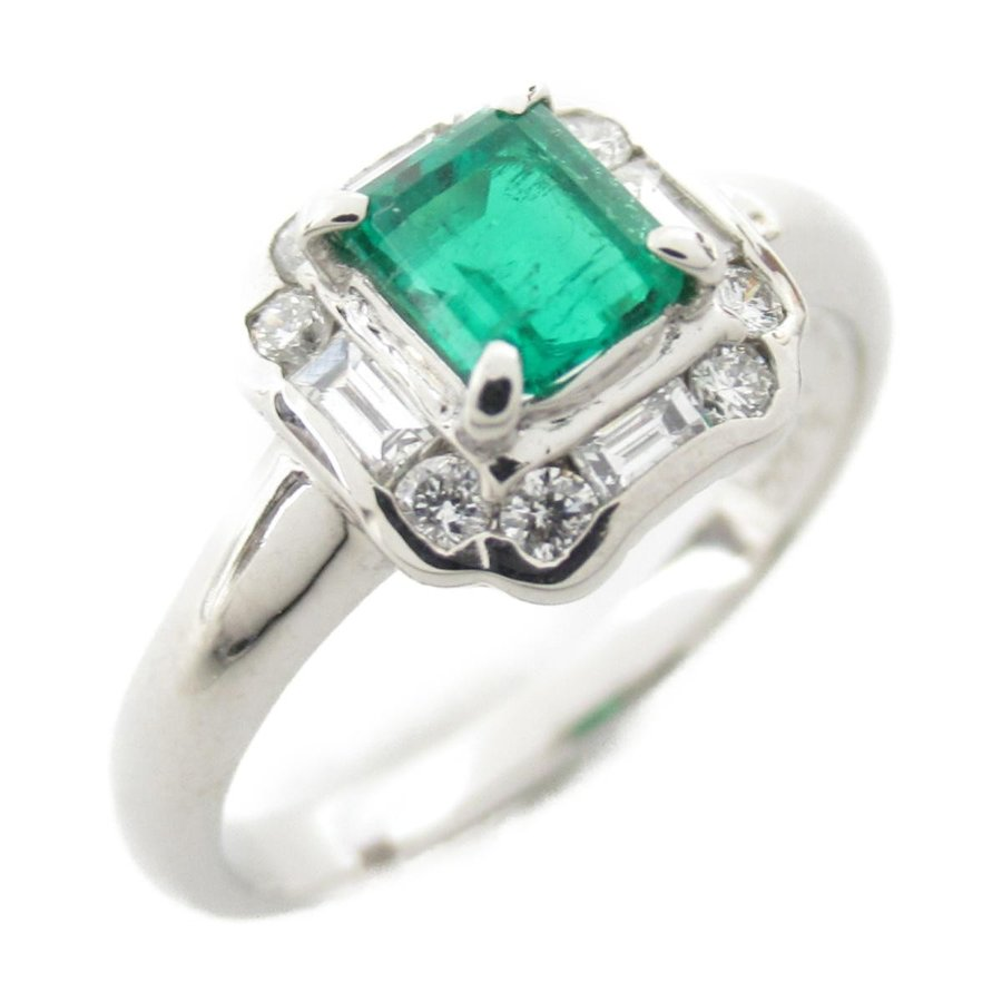 激安ブランド ジュエリー エメラルド ダイヤモンド リング 指輪 PT900 プラチナ x エメラルド0.46ct x ダイヤモンド0.29ct ランクA 13号, BANJO d466aaf9