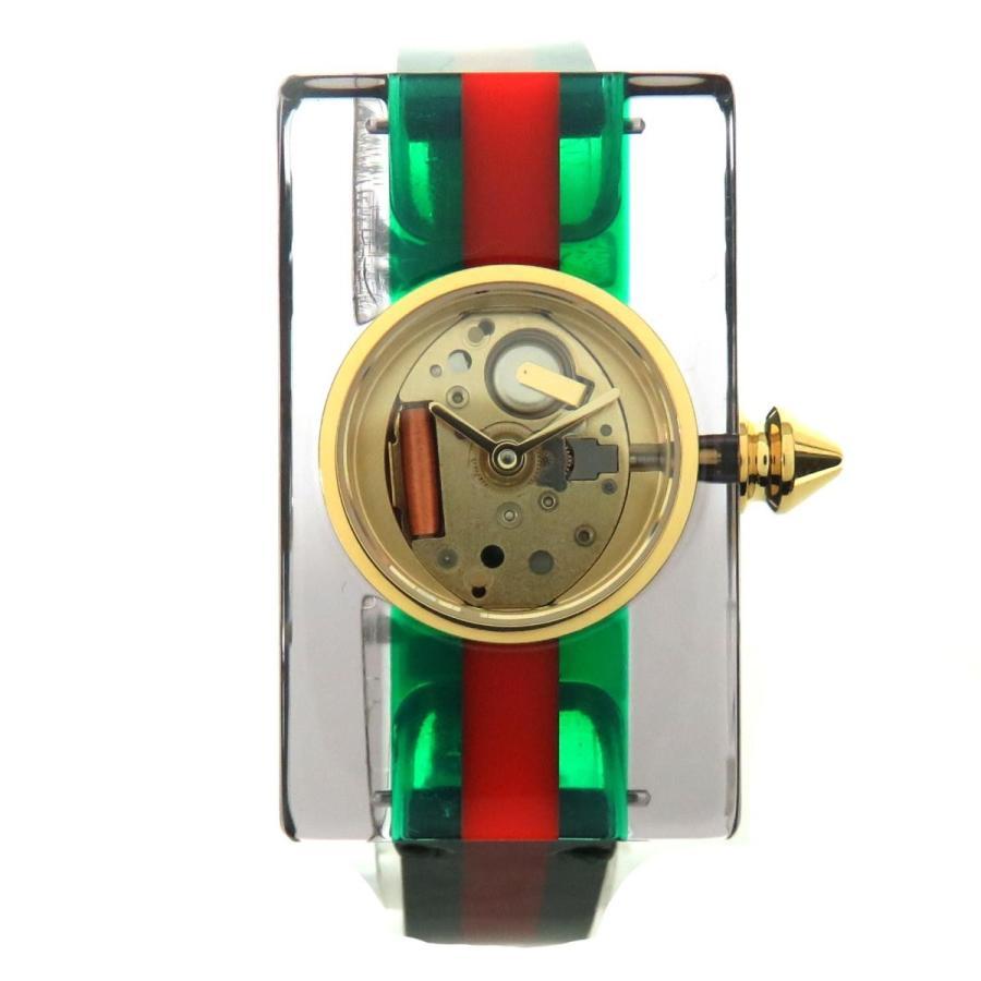 最新な グッチ ヴィンテージウェブ YA143505 プラスチック スケルトン レディース腕時計 グリーン レッド(グッチカラー) プラスチック グッチ レザー YA143505, デコshop Radiant:9dcf1834 --- airmodconsu.dominiotemporario.com
