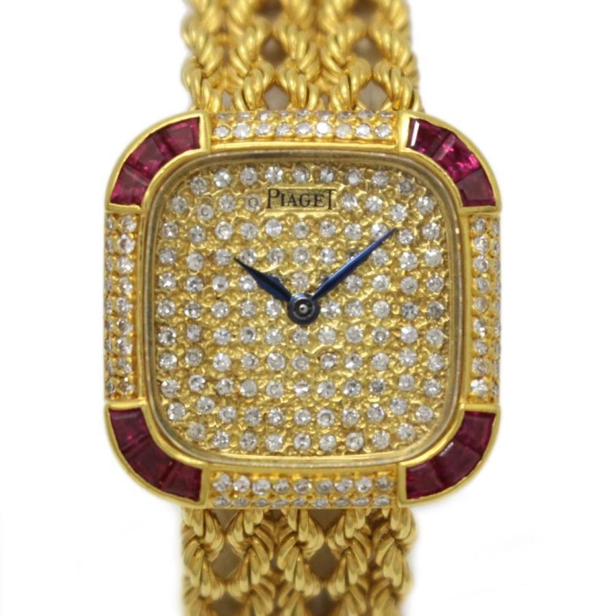 【超特価sale開催!】 ピアジェ K18イエローゴールド ダイヤモンド ルビー付 レディースウォッチ 腕時計 ゴールド ランクA, あおもりけん 0498386e