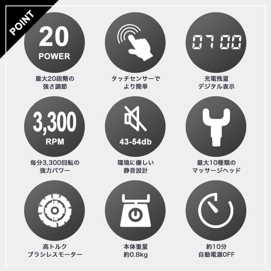 ポイント10倍 マッサージガン 電動マッサージ器 BODYPIXEL ボディピクセル マッスルガン PRO GRAY 標準セット|brandshow|04