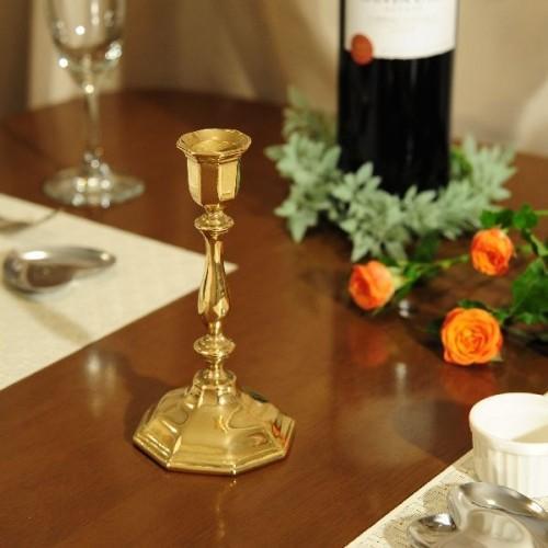 燭台1灯H 真鍮製品金色 ブラス イタリア製アンティーク調雑貨キャンドルスタンド brass-alivio 02
