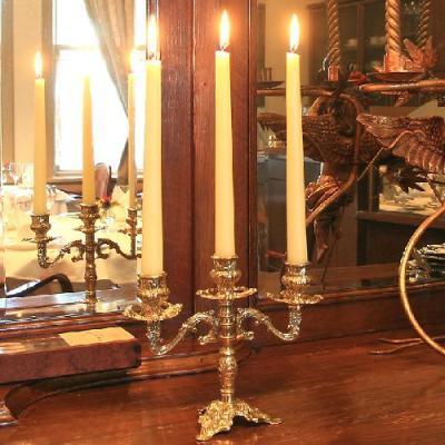 燭台3灯ピッコロ 真鍮製品金色 ブラス イタリア製アンティーク調雑貨キャンドルスタンド|brass-alivio