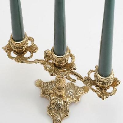 燭台3灯ピッコロ 真鍮製品金色 ブラス イタリア製アンティーク調雑貨キャンドルスタンド|brass-alivio|03
