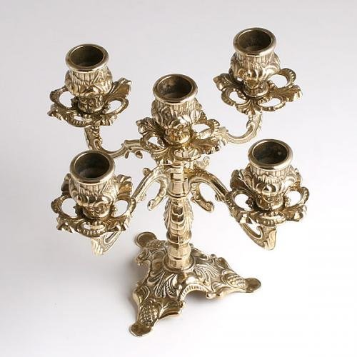 燭台5灯ピッコロ 真鍮製品金色 ブラス イタリア製アンティーク調雑貨キャンドルスタンド|brass-alivio