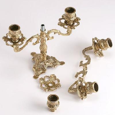 燭台5灯ピッコロ 真鍮製品金色 ブラス イタリア製アンティーク調雑貨キャンドルスタンド|brass-alivio|03