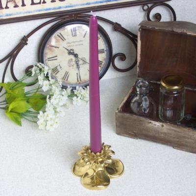 燭台1灯A 真鍮製品金色 ブラス イタリア製アンティーク調雑貨キャンドルスタンド brass-alivio 02