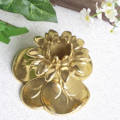 燭台1灯A 真鍮製品金色 ブラス イタリア製アンティーク調雑貨キャンドルスタンド brass-alivio 03