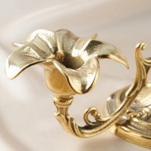 燭台2灯リリー 真鍮製品金色 ブラス イタリア製アンティーク調雑貨キャンドルスタンド|brass-alivio|02