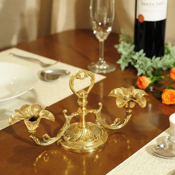燭台2灯リリー 真鍮製品金色 ブラス イタリア製アンティーク調雑貨キャンドルスタンド|brass-alivio|04