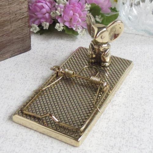 ペーパークリップネズミ 真鍮製品金色 ブラス イタリア製アンティーク調雑貨 brass-alivio