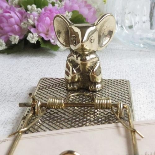 ペーパークリップネズミ 真鍮製品金色 ブラス イタリア製アンティーク調雑貨 brass-alivio 02