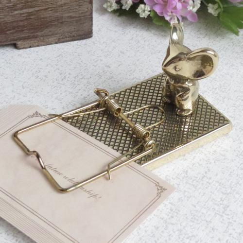ペーパークリップネズミ 真鍮製品金色 ブラス イタリア製アンティーク調雑貨 brass-alivio 04