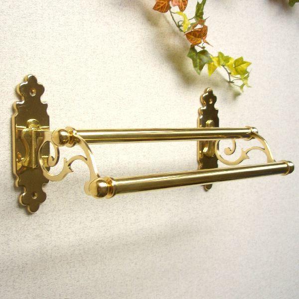 タオルハンガーC30ダブル 真鍮製品金色 ブラス イタリア製アンティーク調雑貨 brass-alivio 02