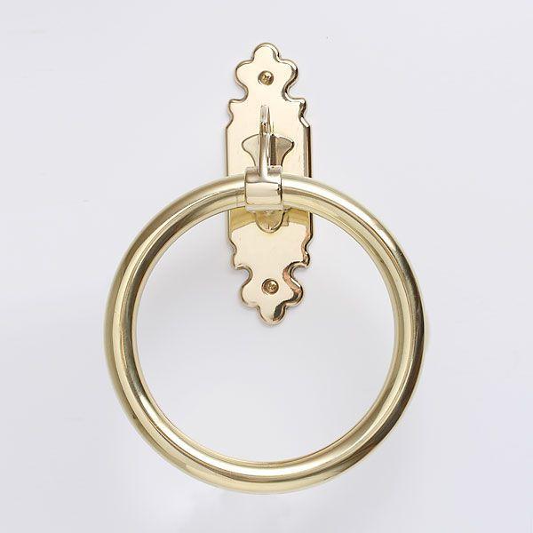 タオルハンガーC リング15 真鍮製品金色 ブラス イタリア製アンティーク調雑貨|brass-alivio
