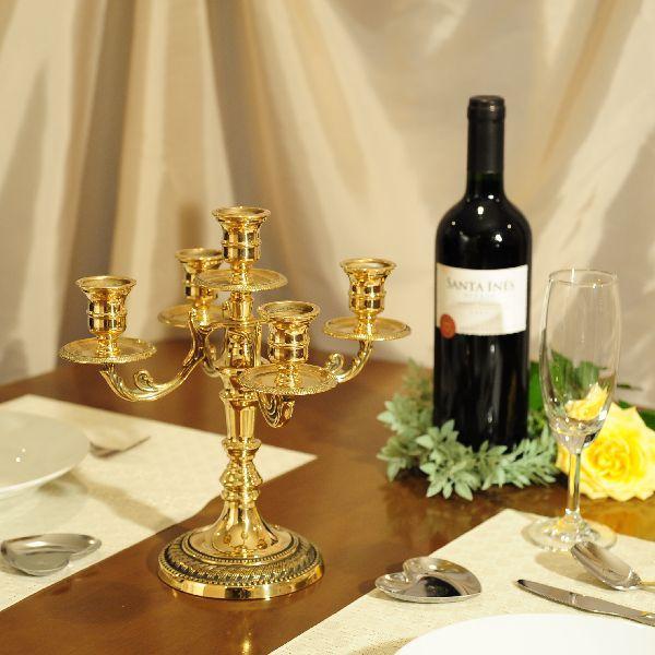 燭台5灯ST-M 真鍮製品金色 ブラス イタリア製アンティーク調雑貨キャンドルスタンド brass-alivio 05