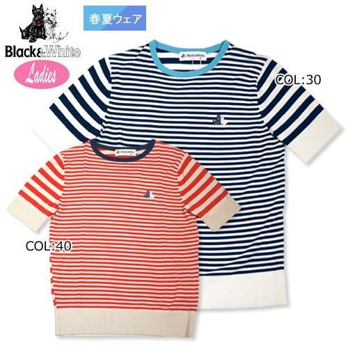 【ブラック&ホワイト】【黒&白い】B2718LSNG レディース 丸襟セーター