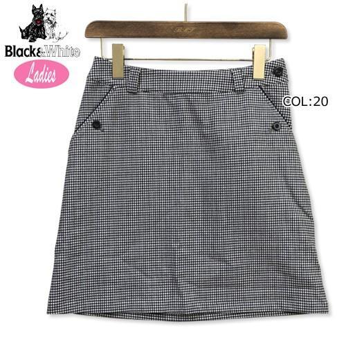 ブラック&ホワイト 黒&白い B4018LFHE レディース インナーパンツ付き スカート