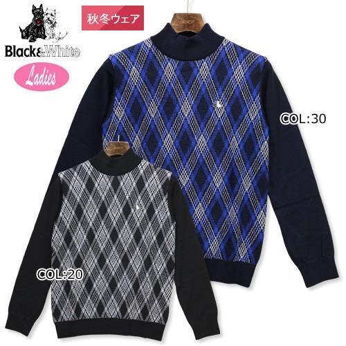ブラック&ホワイト 黒&白い B2618LFNG レディース ニット セーター 長袖 ウェア