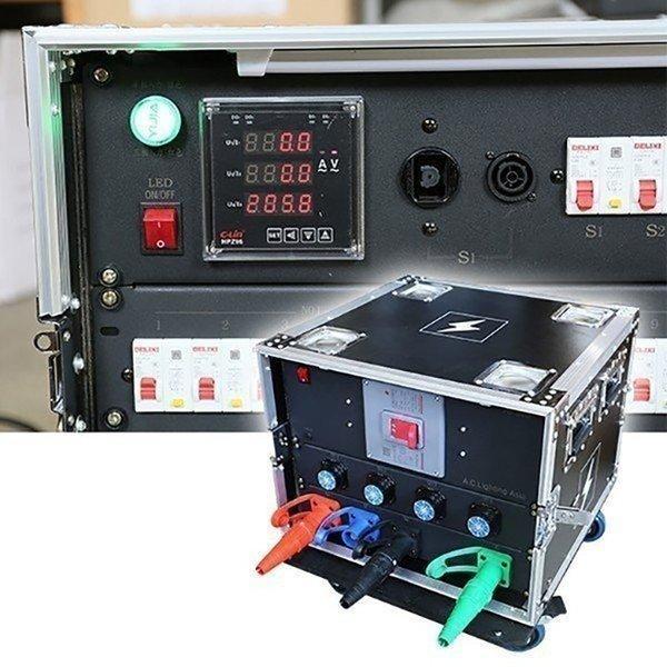 パワーディストリビューター 200V 単相三線と三相三線自動切り替え 漏電ブレーカー付き Camlok入力