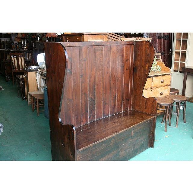 イギリスアンティーク家具 イギリスアンティーク家具 教会 ハイバックベンチ137 英国製 1930年頃 送料無料