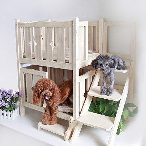 """Petsfit 24"""" L×18 Wxを34"""" H Doubelデッキ木製ペットのベッド、犬のベッド、猫マンション(W/O MAT) 24""""Lx18"""" Wx34"""" H"""