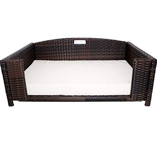 Rattan Medium Rectangular Pet Bed, Indoor/Outdoor