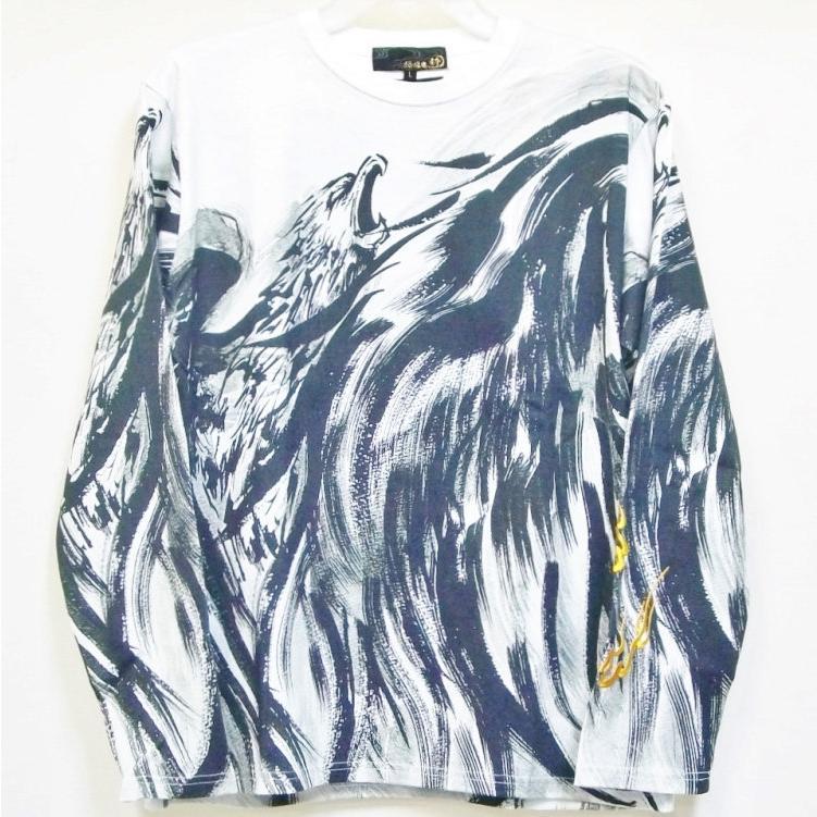 絡繰魂 からくりだましい×中塚 墨絵ロンT 長袖Tシャツ 211825 不死鳥 和柄 bscrawler 02