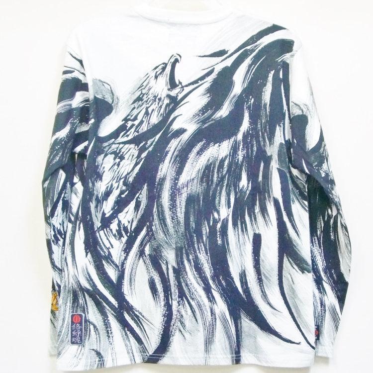 絡繰魂 からくりだましい×中塚 墨絵ロンT 長袖Tシャツ 211825 不死鳥 和柄 bscrawler 03
