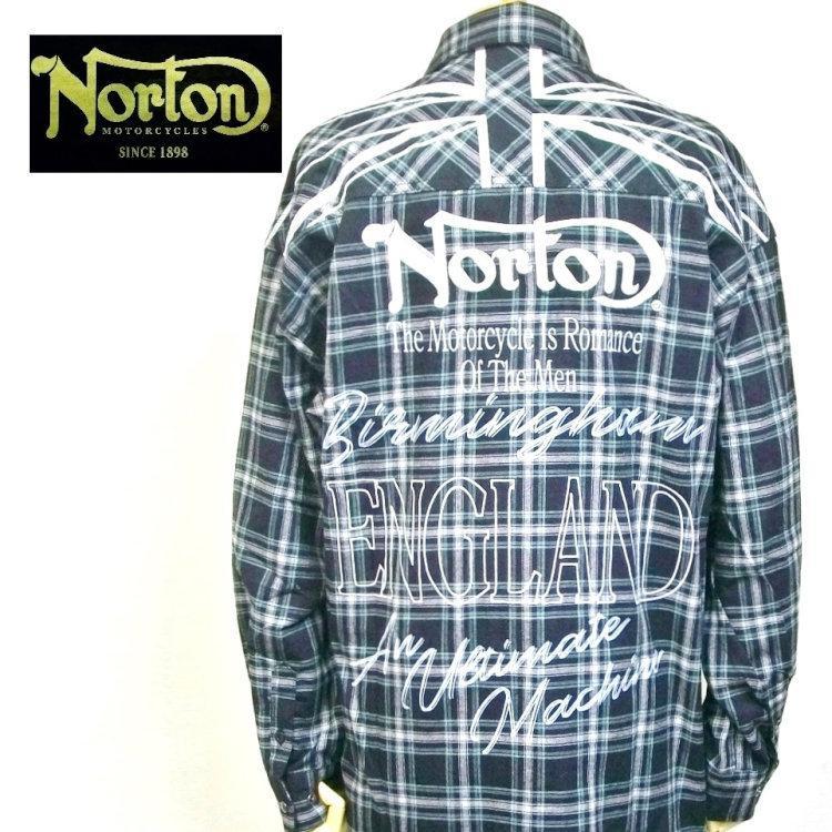 ノートン Nortonドロップショルダー長袖チェックシャツ 211N1501 バイカー ロッカーズ アメカジ bscrawler