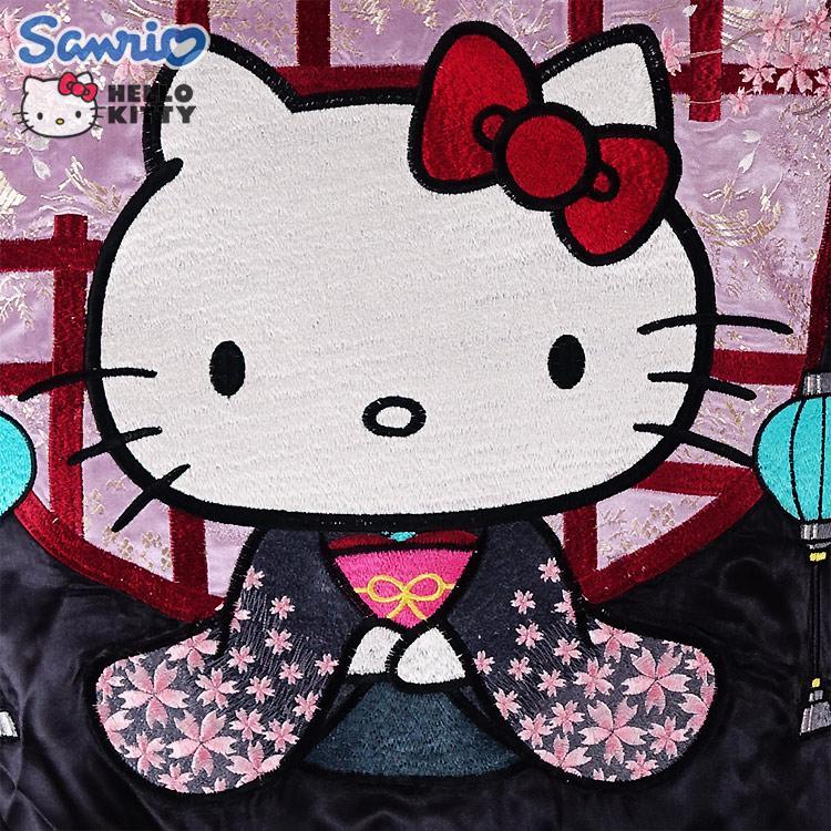 和装ハローキティと桜 ジャガード袖スカジャン HKSJ-004 サンリオ 和柄 bscrawler 02