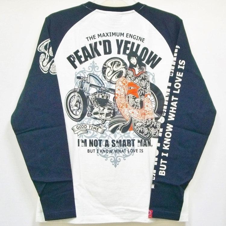 ピークドイエロー Peak'd Yellow 長袖T ロンT PYLT-199 バイク姉御 和柄 バイカー ロック お姉ちゃん 女の子|bscrawler|02