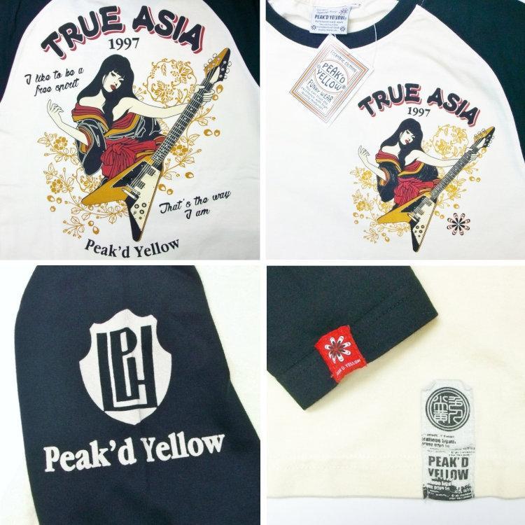 ピークドイエロー Peak'd Yellow 長袖T ロンT PYLT-222 TRUE ASIA 和柄 アメカジ ロック お姉ちゃん 女の子 フライングV|bscrawler|04