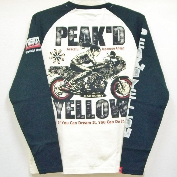ピークドイエロー Peak'd Yellow 長袖T ロンT PYLT-223 BIKE 和柄 アメカジ ロック お姉ちゃん 女の子 カフェレーサー|bscrawler|02