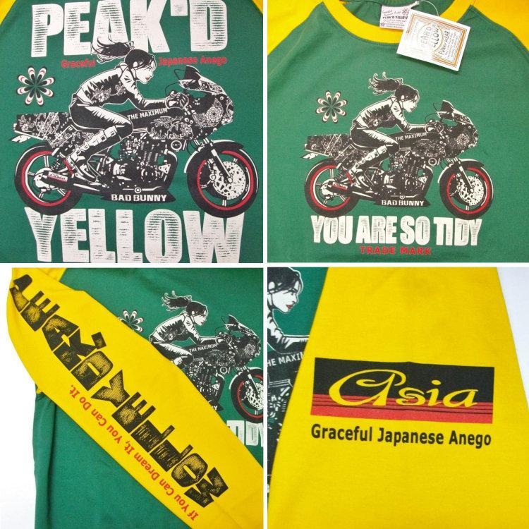 ピークドイエロー Peak'd Yellow 長袖T ロンT PYLT-223 BIKE 和柄 アメカジ ロック お姉ちゃん 女の子 カフェレーサー|bscrawler|07