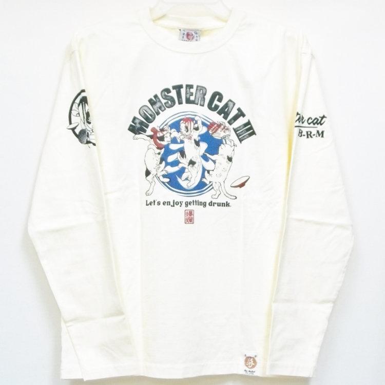 爆烈爛慢娘 ばくれつらんまんむすめ バクマン バクラン長袖Tシャツ RMLT-303 モンスターキャット3 和柄 和 ネコ 猫|bscrawler|03