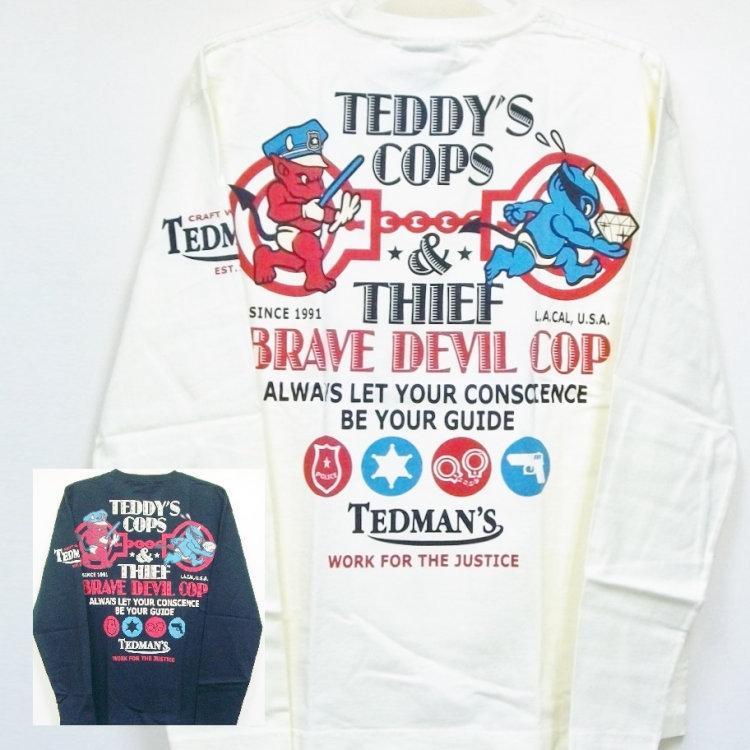 テッドマン TEDMAN ロンT 長袖Tシャツ TDLS-305 TEDDY'S COPS アメカジ バイカー ミリタリー bscrawler
