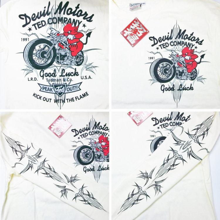 テッドマン TEDMAN ロンT 長袖Tシャツ TDLS-316 DEVIL MOTORS アメカジ バイカー ピンスト|bscrawler|04