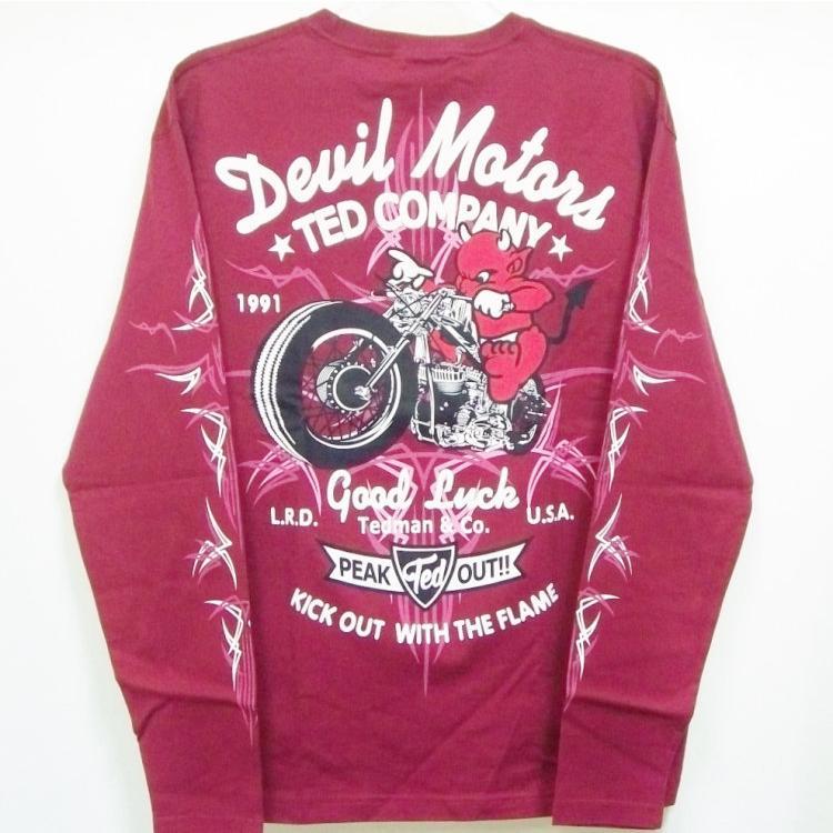テッドマン TEDMAN ロンT 長袖Tシャツ TDLS-316 DEVIL MOTORS アメカジ バイカー ピンスト|bscrawler|05
