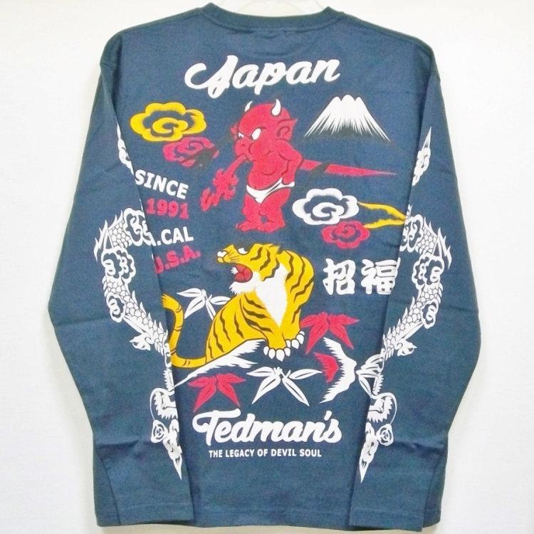 テッドマン TEDMAN ロンT 長袖Tシャツ TDLS-322 鬼VS虎 アメカジ バイカー 和柄|bscrawler|08