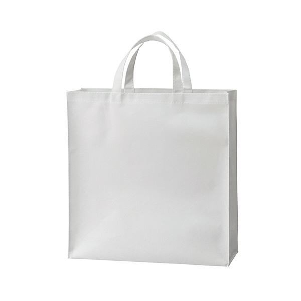 (まとめ) TANOSEE 不織布バッグ 小ヨコ320×タテ330×マチ幅110mm ホワイト 1パック(10枚) 〔×10セット〕