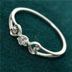 満点の K18WG アンティーク調ダイヤリング 指輪 17号, GREEN RIBBON f8030503