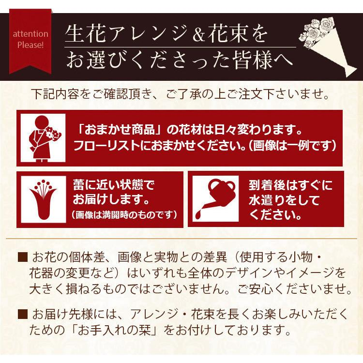 【誕生日プレゼント ギフト 女性 花 バラ ユリ】おまかせアレンジメント Mサイズ|bunbunbee|13