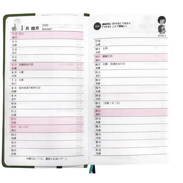 2020年版長野県民手帳 サマーグリーン カレンダーは横掛け式 送料込 ネコポス(メール便)で出荷いたします。 busan-nagano 03