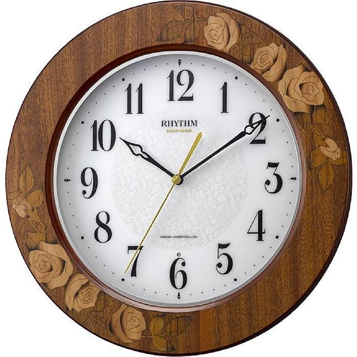 掛け時計 壁掛け時計 電波時計 シチズン リズム時計 アマービレM520 象嵌仕上 アナログ 8MY520SR06 CITIZEN