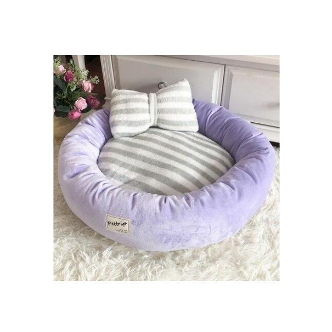 【送料無料】犬ベッド 洗える 冬用 小型犬 ペットベッド まくらつき メス 円形 かわいい 屋内 暖かい  猫 ベッド ピンク パープル 子犬 ベッド cactus0812 11