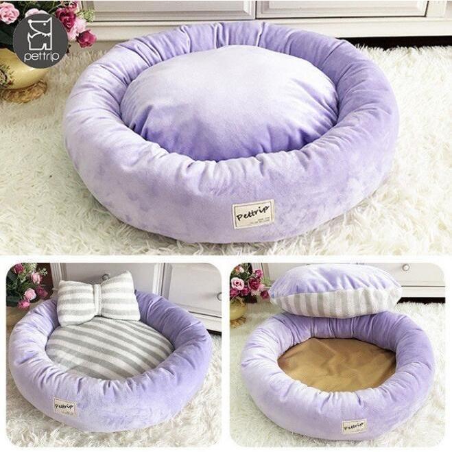【送料無料】犬ベッド 洗える 冬用 小型犬 ペットベッド まくらつき メス 円形 かわいい 屋内 暖かい  猫 ベッド ピンク パープル 子犬 ベッド cactus0812 04