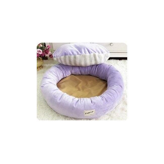 【送料無料】犬ベッド 洗える 冬用 小型犬 ペットベッド まくらつき メス 円形 かわいい 屋内 暖かい  猫 ベッド ピンク パープル 子犬 ベッド cactus0812 05
