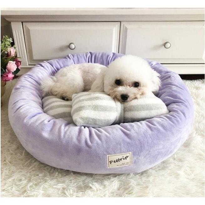 【送料無料】犬ベッド 洗える 冬用 小型犬 ペットベッド まくらつき メス 円形 かわいい 屋内 暖かい  猫 ベッド ピンク パープル 子犬 ベッド cactus0812 07