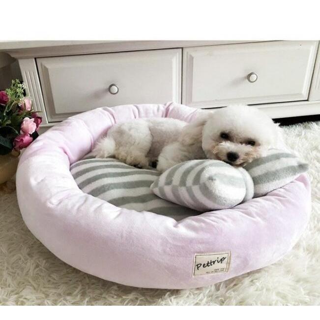 【送料無料】犬ベッド 洗える 冬用 小型犬 ペットベッド まくらつき メス 円形 かわいい 屋内 暖かい  猫 ベッド ピンク パープル 子犬 ベッド cactus0812 08