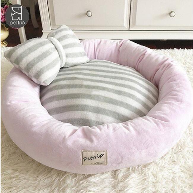 【送料無料】犬ベッド 洗える 冬用 小型犬 ペットベッド まくらつき メス 円形 かわいい 屋内 暖かい  猫 ベッド ピンク パープル 子犬 ベッド cactus0812 09